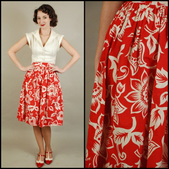 1940s Skirt | 40s Red and White Two Tone Cotton Sk