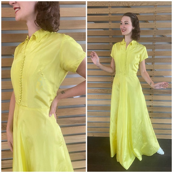 1940s Dress   Vibrant Chartreuse Yellow 40s Gown … - image 1