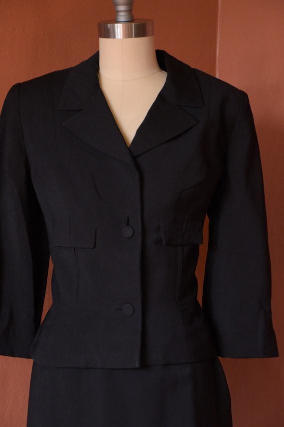 SALE - 1940s Suit | Smart 40s Black Suit with Cro… - image 3