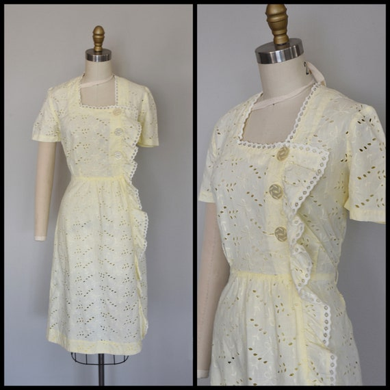 1930s Dress | Crisp 30s Cotton Eyelet Dress with E