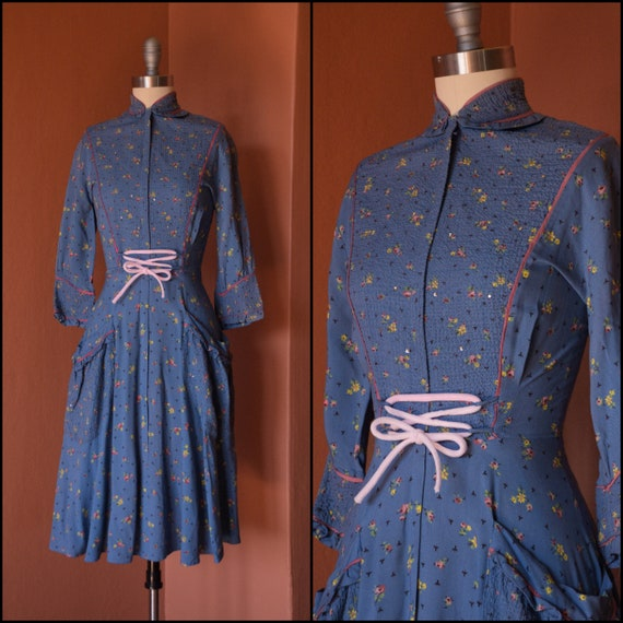 1940s Dress | Lovely 40s Matte Rayon Floral Print