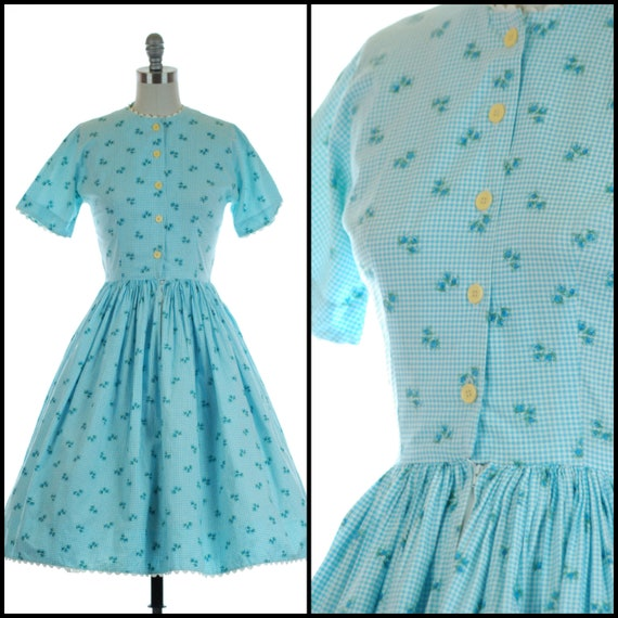 1950s Dress | Sweet 50s Cotton Blue Gingham Floral