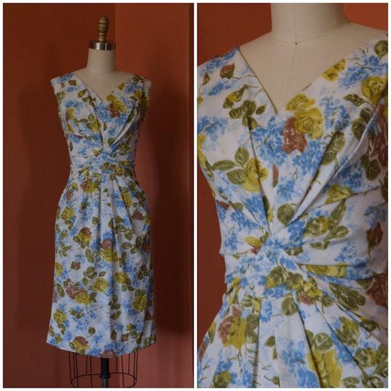 1950s Dress | Sassy 50s Nylon Jersey Floral Wiggle