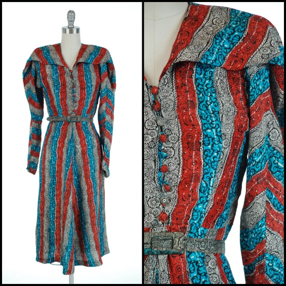 1940s Dress | Sculpted 40s Red White and Blue Silk