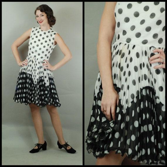 1960s Dress  60s Black and White Polka Dot Two Ton