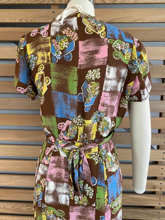 1940s Dress | Fab 40s Flower Wagon Novelty Print … - image 10