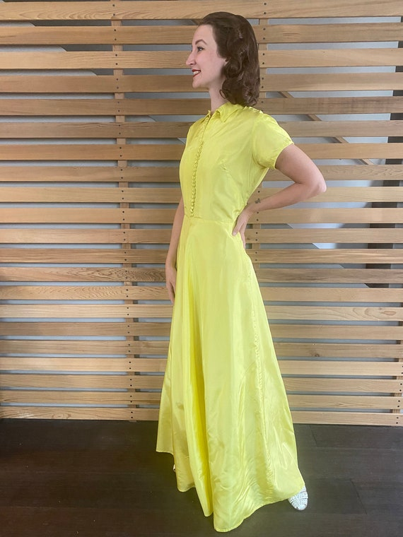 1940s Dress   Vibrant Chartreuse Yellow 40s Gown … - image 4
