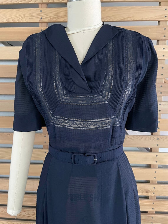 1940s Dress   Lovely 40s Rayon Sheer Dress with L… - image 3