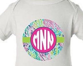 Custom Pink & Teal Monogram Preppy Onepiece Baby Bodysuit   Preppy   Monogrammed Bodysuit  