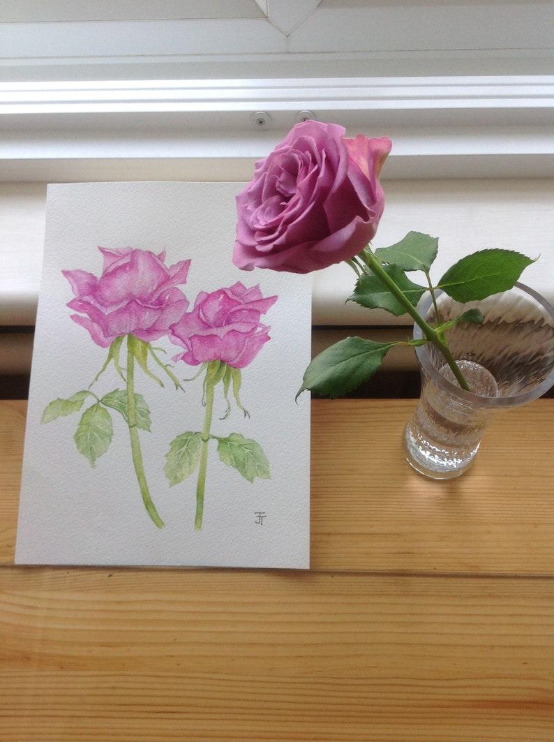 Pittura acquerello originale Rosa Rose Fiori acquerello ...