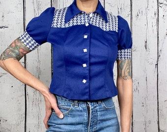 vintage 1960s blue lace cropped blouse