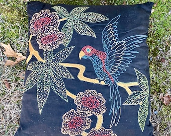 Antique Vintage Embroidered Pillow 1910s 1920s Needlework Black Parrot Bird  Flowers Throw Pillow