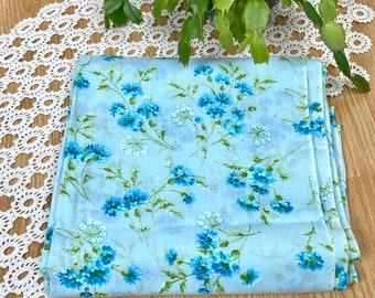 Vintage Cotton Fabric Yardage Light Blue Floral 3 Yards
