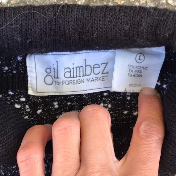 Vintage Cropped Sweater Cardigan Black White Larg… - image 7