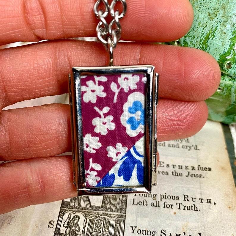 Vintage 1940s Fabric Windowpane Pendant Necklace Purple Blue