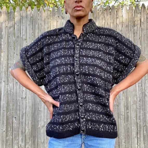 Vintage Cropped Sweater Cardigan Black White Larg… - image 2
