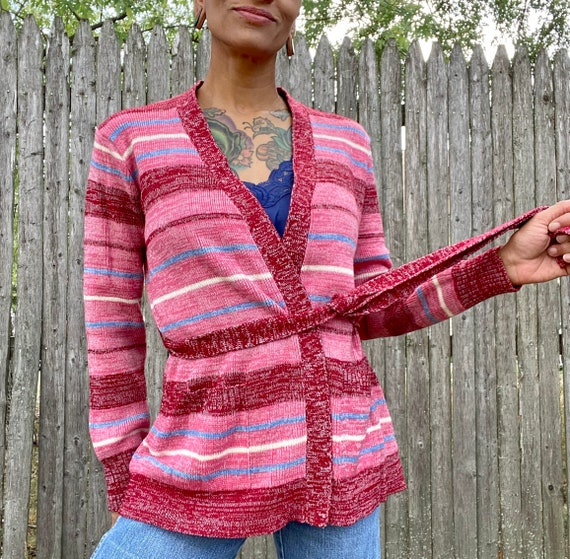 Vintage Cardigan Sweater 1970s Pink Stripes Acryli