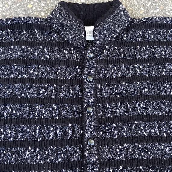 Vintage Cropped Sweater Cardigan Black White Larg… - image 5