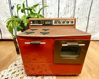 Vintage Tin Litho Toy Stove Oven Orange Kitsch