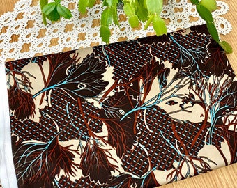 Vintage Polyester Fabric Brown Leaves Abstract Yardage