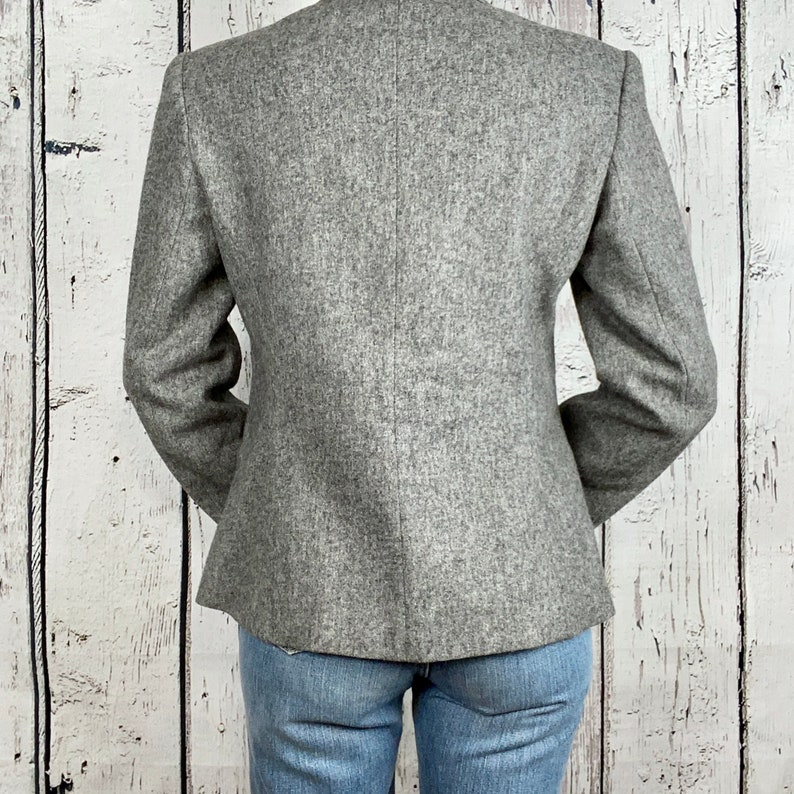 Vintage 1980s Wool Blazer Suit Jacket Career Wear Gray Small Medium