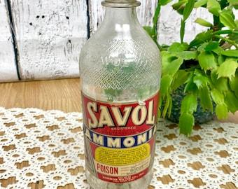 Vintage Bottle Savol Ammonia 1940s Original Label Packaging Fall River Ma