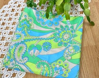 Vintage 1960s Acetate Nylon ? Psychadelic Fabric Yardage Blue Green 3 Yards