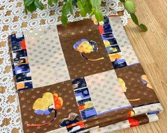 Vintage Polyester Nylon Fabric Yardage Brown Tan Abstract Flowers Gold Metallic