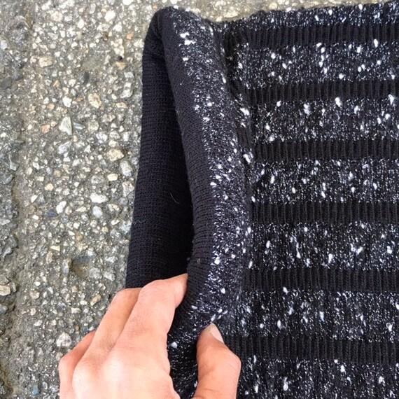 Vintage Cropped Sweater Cardigan Black White Larg… - image 6