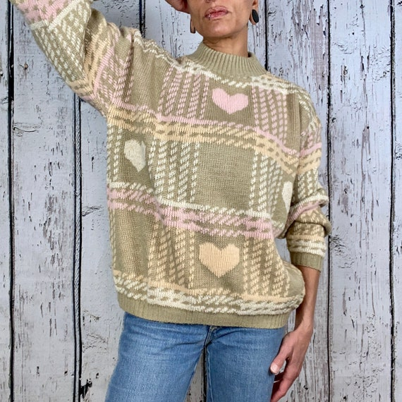 Vintage 1980s Tan Jay Oversized Sweater Vest Size Medium