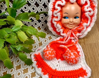 Vintage Crochet Doll Face Potholders Kitsch Peach
