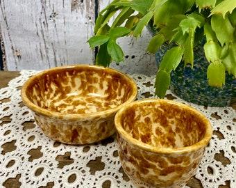 Antique Vintage Spongeware Splatterware Yelloware Custard Cup Small Bowl Lot Brown Bennington