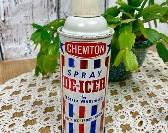 Vintage Spray Can Chemton Spray Deicer Pre Bar Code Red White Blue Empty