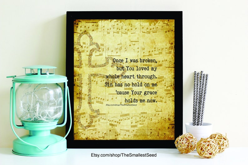 Christian Song Lyrics, Printable, Scripture Art, Whole Heart (Hold Me Now)  - Hillsong United