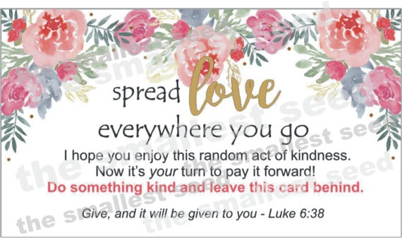 graphic relating to Kindness Cards Printable titled Random Functions of Kindness Playing cards, Spend it Ahead Playing cards, Printable, \
