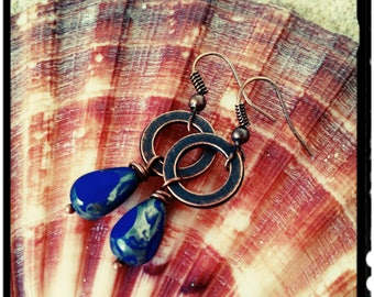 Blue & Copper Earrings - Cobalt Blue Czech Beads//Copper Circle//Hook Ear Wires - Boho/Minimalist