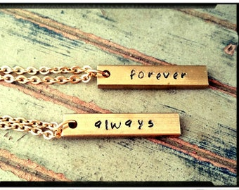 """Couples Necklace - Solid Brass Bar//Hand Stamped//Always/Forever - Names//Initials//Customize - 1.25"""" Vertical Bar - His & Her"""