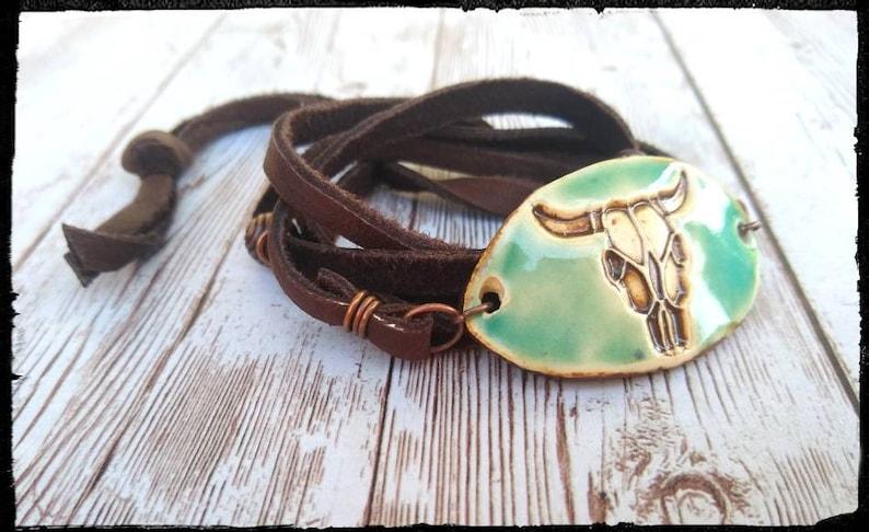 BohoGypsyHippieSouthwest Copper Beads CowBull Skull TurquoiseAqua Boho Blues \u2022 Leather Wrap Bracelet \u2022 Ceramic Steer Skull
