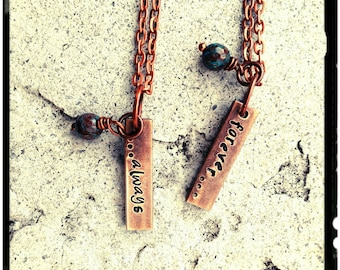 """Couples Necklace - Aged Copper Bar//Hand Stamped//Always/Forever - Names//Initials//Customize - 1"""" Vertical Bar//Blue Solidite- His & Her"""