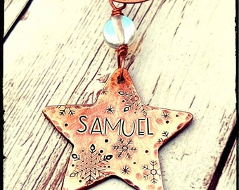 Copper Star Christmas Ornament • Oxidized Hammered/Hand Stamped Copper Star | Snowflake Design | Copper or Aluminum Ornament |Custom Gift