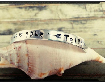 Tribe - Cuff Bracelet - 'Your Vibe determines Your Tribe' Quote Cuff Bangle//Hand Stamped//Flowers//Arrow - Boho - Gift for Her