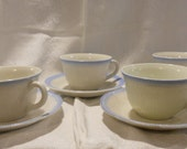 Fire King quot Alice quot Vitrock Blue trim cup and saucer