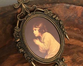 Vintage Framed Print of Little Girl Praying in Ornate Metal Frame | Made in Italy