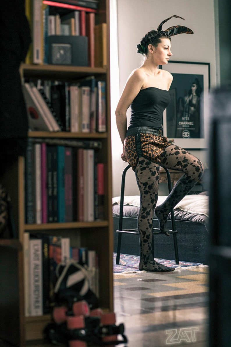 Leopard shorts print elastic belt and sides black satin lined stretch stretch black satin ZAT BLACK LEO T.S 3638 made in France