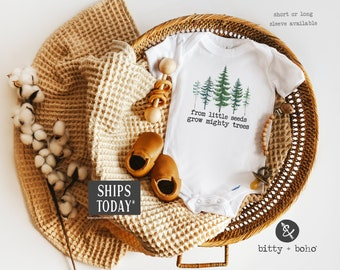 From Little Seeds Grow Mighty Trees Onesie®, Adventure Onesie, Hipster Baby Clothes, Baby Boy Clothes,Baby Shower Gift Mountains Are Calling