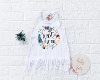 Wild and Three Dress, Third Birthday Outfit Girl, 3rd Birthday Outfit Girl, Third Birthday Girl Dress, Boho Fringe Dress, Feather Birthday