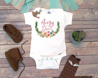 ed694e290 Boho Baby Clothes, Baby Name Onesie®, Bohemian Baby Clothes, Custom Baby  Gift, Baby Shower Gift, Personalized Onesie, Floral Name Wreath