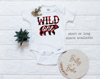 First Birthday Mauve Plaid Customized Onesie\u00ae Buffalo Plaid Birthday Boho Baby Clothes 429A Custom Baby Outfit Personalized Onesie
