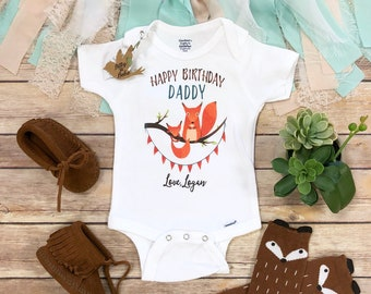 Happy Birthday Daddy OnesieR Onesie Fathers Gift From Baby Custom Fox Outfit Dad
