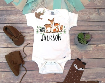 c9b6de1d8 Woodland Onesie®, Custom Baby Gift, Custom Onesie, Personalized Baby Gift, Name  Onesie, Baby Shower Gift, Baby Boy Clothes, Take Home Outfit